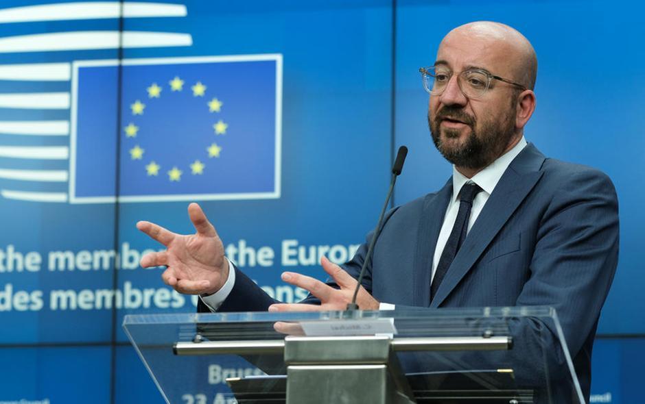 Il presidente del Consiglio europeo Charles Michel interviene durante una conferenza stampa